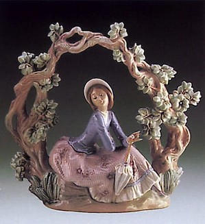 Lladro-Girl Sitting Under Trellis
