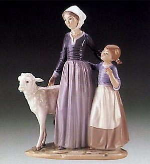 Lladro-Mother w/Child & Lamb