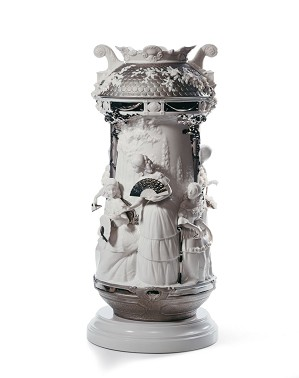 Lladro-Ladies in Garden Vase Limited Edition. Silver Lustre
