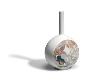 Lladro-Canvas Vase Bird Scene