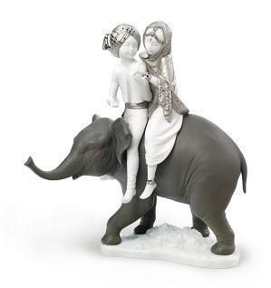 Lladro-Hindu Children. Silver Lustre