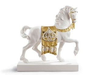 Lladro-A REGAL STEED (RE-DECO GOLDEN)