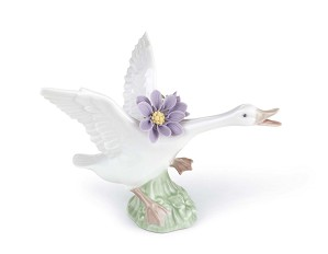 Lladro-Jumping Duck with Purple Dahlias