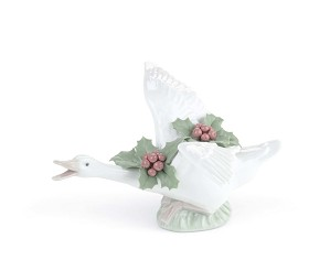 Lladro-Flying Duck with Mistletoe