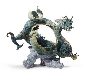 Lladro-Auspicious Dragon Sculpture Green