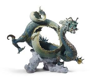 Lladro-Auspicious Dragon Sculpture Green