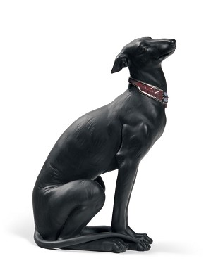 Lladro-Attentive Greyhound (Black)