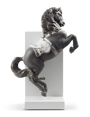 Lladro-Horse on Pirouette Silver Lustre