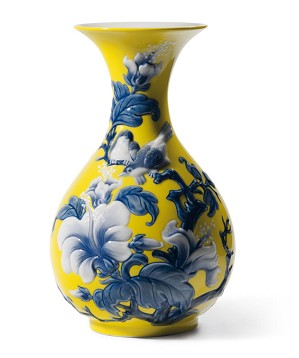 Lladro-Sparrows Vase Yellow