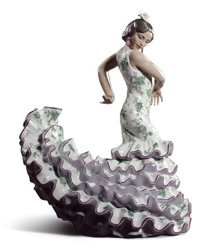Lladro-Flamenco Flair Woman Green and Purple