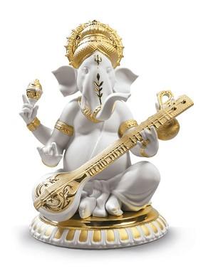 Lladro-Veena Ganesha. Golden Lustre