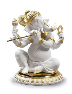 Lladro-Bansuri Ganesha. Golden Lustre