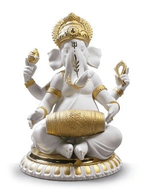 Lladro-Mridangam Ganesha. Golden Lustre