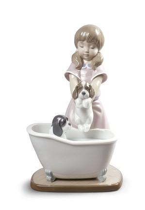 Lladro-Bathing My Puppies