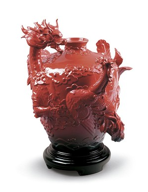 Lladro-Dragon and Phoenix Vase