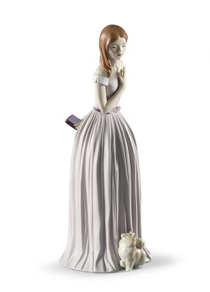 Lladro-I'll Walk You to the Party Woman with Dog