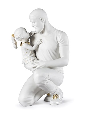 Lladro-In Daddy's Arms White & Gold