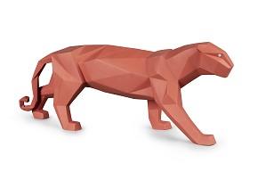 Lladro-Panther (Coral Matte)