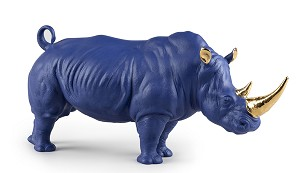 Lladro-Rhino (Blue-Gold)