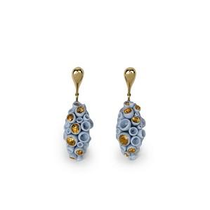 Lladro Jewelry-Golden Blue Reef Long Earrings