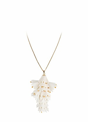 Lladro Jewelry-Actinia long pendant . White and Golden luster