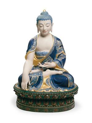 Lladro-Shakyamuni Buddha Sculpture. Golden Lustre