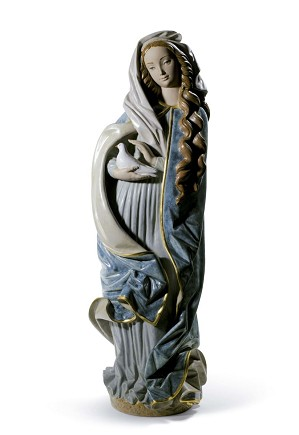 Lladro-Madonna With Dove Blue Golden