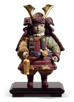 Lladro-Warrior Boy Golden Lustre