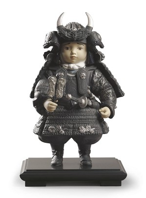 Lladro-Warrior Boy Silver Lustre