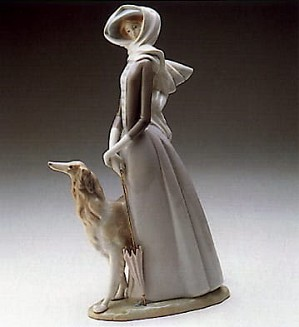 Lladro-Lady with Greyhound