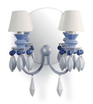 Lladro Lighting-Belle de Nuit 2 Lights Wall Sconce Blue