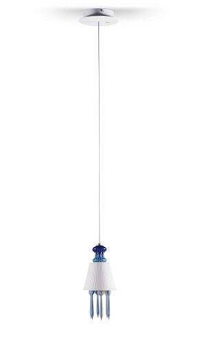 Lladro Lighting-Belle de Nuit Ceiling Lamp with Lithophane Blue