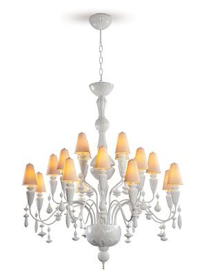 Lladro Lighting-Ivy and Seed 20 Lights Chandelier Medium Model White