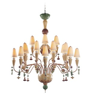Lladro Lighting-Ivy and Seed 20 Lights Chandelier Medium Model Spices