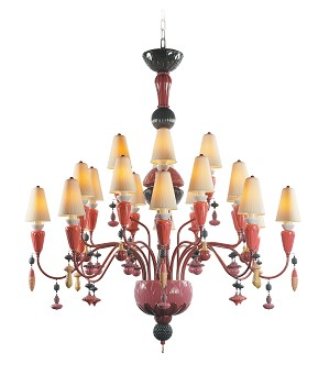 Lladro Lighting-Ivy and Seed 20 Lights Chandelier Medium Model Red Coral