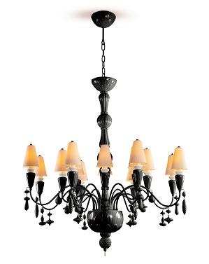 Lladro Lighting-Ivy and Seed 16 Lights Chandelier Medium Flat Model Absolute Black