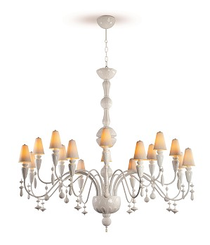Lladro Lighting-Ivy and Seed 16 Lights Chandelier Large Flat Model White