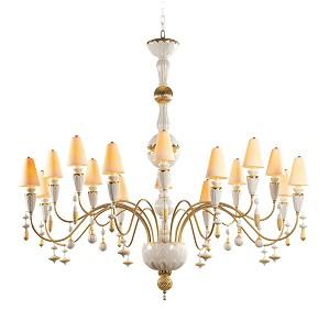 Lladro Lighting-Ivy and Seed 16 Lights Chandelier Large Flat Model Golden Luster