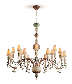 Lladro Lighting-Ivy and Seed 16 Lights Chandelier Large Flat Model Spices