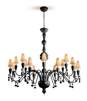 Lladro Lighting-Ivy and Seed 16 Lights Chandelier Large Flat Model Absolute Black