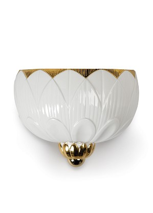 Lladro Lighting-Ivy & Seed Wall Sconce White and Gold
