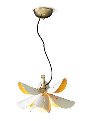 Lladro Lighting-Blossom Hanging Lamp White-Gold