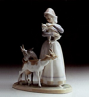 Lladro-Shepherdess With Goats 1969-87