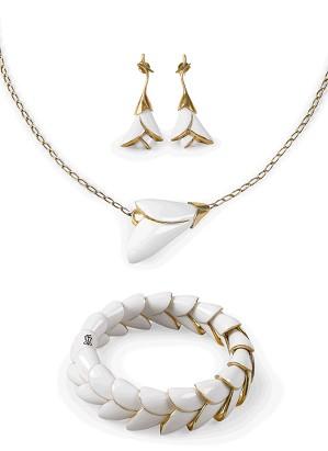 Lladro Jewelry-Heliconia White 3 Pieces Set