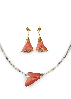 Lladro Jewelry-Heliconia Coral 2 Pieces Set