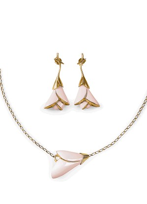 Lladro Jewelry-Heliconia Pink 2 Pieces Set