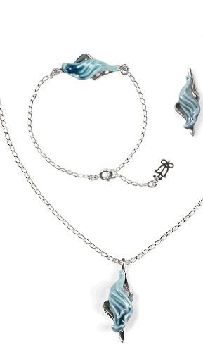 Lladro Jewelry-Aquarium Pendant, Bracelet & Earrings Set