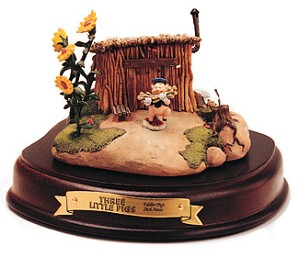 WDCC Disney Classics-Three Little Pigs Fiddler Pig Stick House