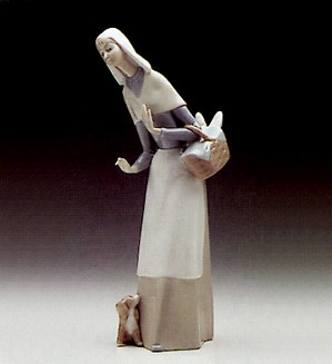 Lladro-Shepherdess With Dog 1969-89