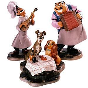 WDCC Disney Classics-Lady And The Tramp Joe, Tramp, Lady &  Tony Bella Notte